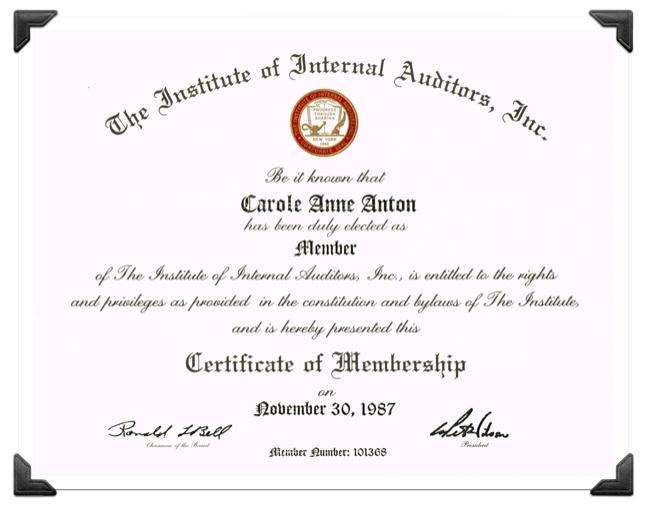 Internal Audit Certificate Carole Anton